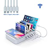 YOJA Kabellos Ladestation Mehrere Geräte Wireless Charger 5 Port USB Charging Station Multi Ladestation Handy Tablet mit Kabellos Induktives...