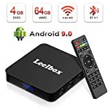 Android 9.0 TV Box - Leelbox Smart TV Box Q4 Plus 4 GB RAM & 64 GB ROM, Quad Core 64 bit Android Box Wi-Fi integrato/BT 4.1/ Box TV UHD 4K TV/USB 3.0...