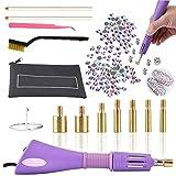 Hotfix Applikator, Hot Fix Strassapplikator Zauberstab Setter Werkzeug Kit mit 7 verschiedenen Größen, Pinzette, Reinigungsbürste, 2 Bleistifte und...