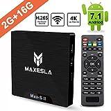 Android 7.1 TV Box - Maxesla MAX-S II Smart TV Box mit 2GB Ram + 16GB eMMC, CPU Amlogic S905W, 4K UHD / 2.4Ghz Wifi / H.265 / HDMI & AV / USB,...
