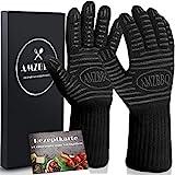 AMZBBQ Premium Grillhandschuhe, Hitzebeständige Ofenhandschuhe bis 500 Grad, Extra Lange Backofenhandschuhe, Hitzeschutzhandschuhe für Küche &...