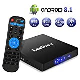 Android 8.1 TV Box【4G+64G】- Leelbox Smart TV Box Q4 MAX, Quad Core 64 Bit Android Box Wi-Fi integrato/BT 4.1/ Box TV UHD 4K TV/USB 3.0 Media...