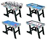 HLC 121.5*61*81.3 CM Zusammenklappbar 4 in 1 multifunkniertes Tischspiel -- Tischfußball(Tischkiker)/Tischtennis /Air Hockey /Billard-Tisch