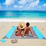 OUSPT Picknickdecke 210 x 200 cm, Stranddecke wasserdichte, Sandabweisende Campingdecke 4 Befestigung Ecken, Ultraleicht kompakt Wasserdicht und...