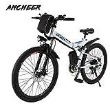 Ancheer Elektrofahrrad Faltbares Mountainbike, 26 Zoll Reifen Elektrisches Fahrrad Ebike mit 250W bürstenlosem Motor und 36V 8Ah Lithium-Batterie...