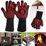 Homemaxs 800 °C Grillhandschuhe Ofenhandschuhe Hitzebeständige Kochenhandschuhe EN407-Zertifizierung BBQ Handschuhe Anti-Rutsch Silikon Handschuhe...