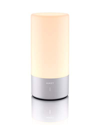 AUKEY Tischlampe, 360° Berührungssensor Nachttischlampe mit RGB Farbwechsel...