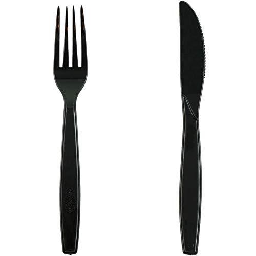 RAGO Premium Plastikbesteck 100 Gabeln 200 teiliges Einweg Besteck Set Schwarz 100 Messer