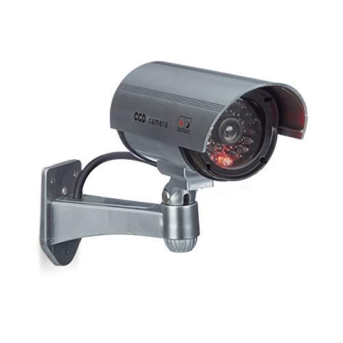 Relaxdays Dummy Kamera mit LED-Licht, Wandhalterung,...