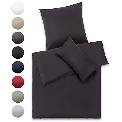 Blumtal Mako Satin Bettwäsche 135 x 200 cm mit Kissenbezug 80x80 cm - 100% Baumwolle, Superweiches Bettbezug Set Dunkel Grau, Anthracite