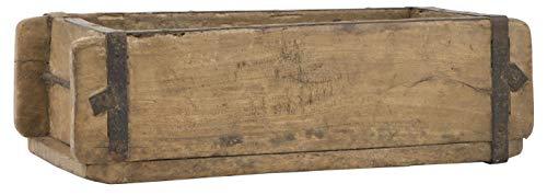Alte Ziegelform 32x15x9,5 cm - Ein-Kammer - Vintage Holzkiste mit Metallbeschlägen - Echte, benutzte Form aus Indien aus Altholz gefertigt - Jedes...