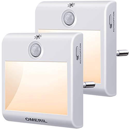 Nachtlicht Steckdose mit Bewegungsmelder, OMERIL 2 Stück Steckdosenlicht 3 Modi (Auto/ON/OFF) Helligkeit Einstellbar Orientierungslicht Warmweiß...