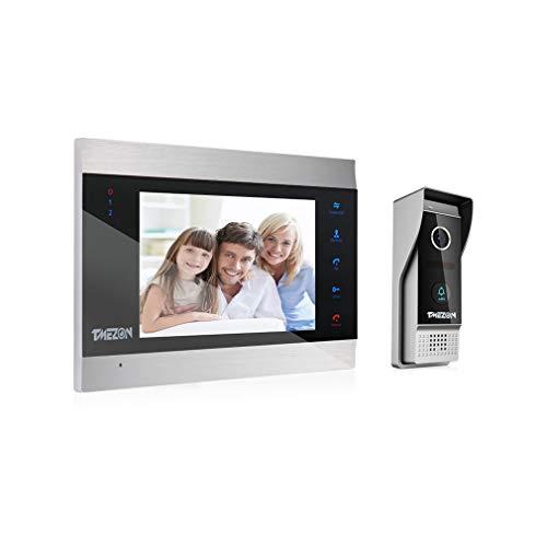 TMEZON Video Türsprechanlage Türklingel Intercom System, Türsprechanlage mit 7 Zoll 1-Monitor 1-Kamera Für 1-Familienhaus, Touch-Taste,...