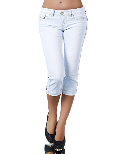 K900 Damen Capri Jeans Hose Damenjeans Caprihose Caprijeans Bermuda Dicke Naht, Farben:Hellblau;Größen:36 (S)