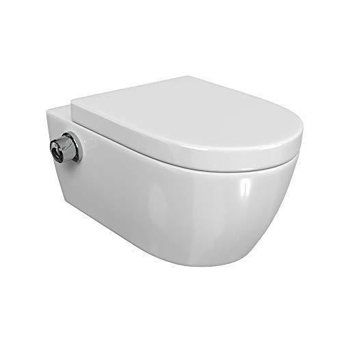 SSWW | Taharet WC | Inkl. Armatur und abnehmbarer Softclose Sitz | Dusch-WC | Hänge-WC | Toilette mit Bidet-Funktion | Hygienisch | Alpha...