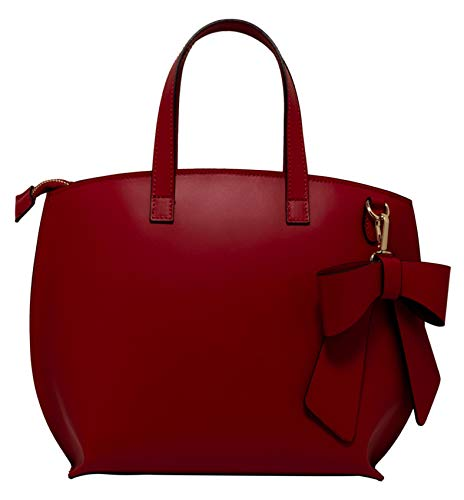 Shirin Sehan Ladies Leather Real Leather Handbag Shoulder Bag Shoulder Bag Molina Red Bow Made in Italy Italy