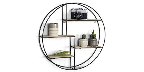 LIFA LIVING Rundes Wandregal modern aus Holz und schwarzem Metall, Gewürzregal im Industrie Design, Küchenregal mit 4 Böden, Wanddeko Ø 55 cm x 11...