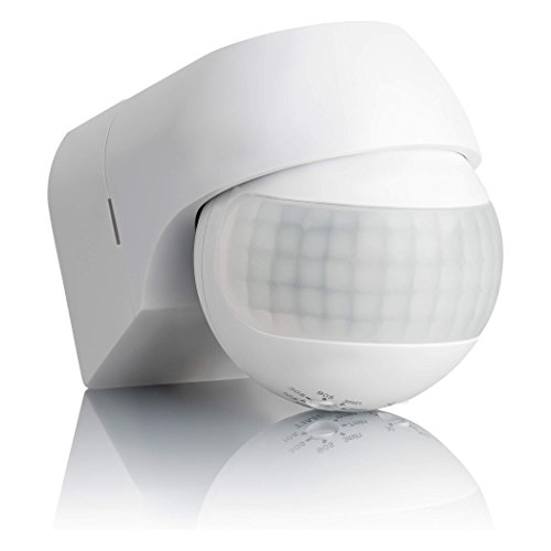 SEBSON® Bewegungsmelder Aussen IP44, Aufputz, Wand Montage, programmierbar, Infrarot Sensor, Reichweite 12m / 180°, LED geeignet, schwenkbar