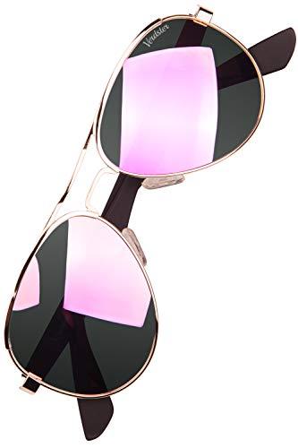Verdster polarisierte & verspiegelte Damen Pilotenbrille mit UV400 Schutz - Frauen Pilotenbrille rosa-gold
