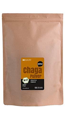 Wohltuer Bio Chagapulver | Chaga Vitalpilz Pulver bio | Chaga Tee aus Wildsammlung 100g