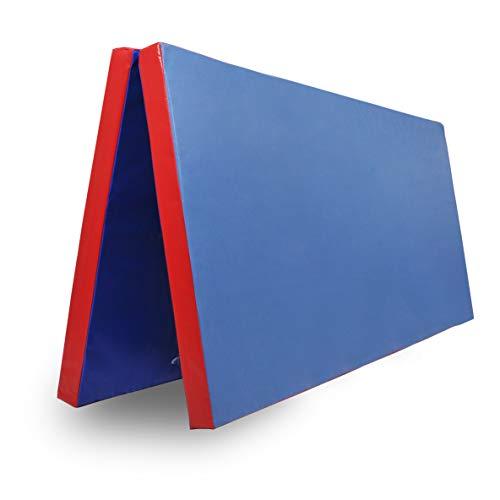 Klappbare Turnmatte - versch. Farben & Größen - Raumgewicht: 22 kg/m³ (200 x 100 x 8 cm, Blau - Rot)