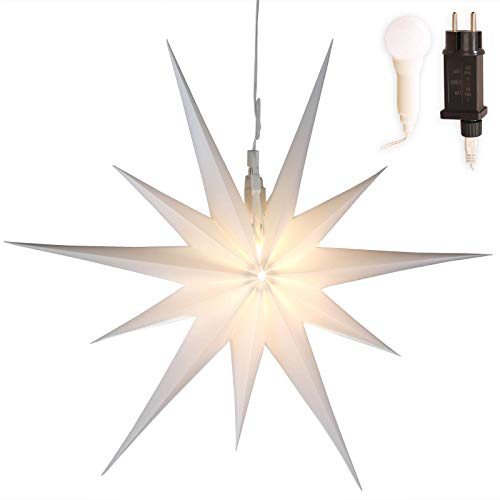 Stern Weihnachten weiß beleuchtet Ø 50cm mit 11 Zacken zum Aufhängen 7m...