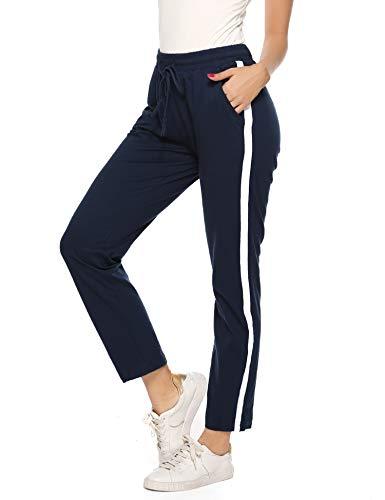 Aibrou Dames sportbroeken Joggingbroeken Lange katoenen sportkleding Pyjamabroek Pyjamabroek Nachtkleding Blauw M