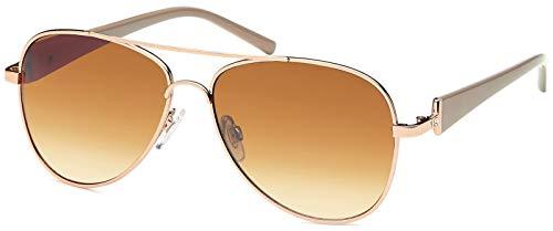 styleBREAKER elegante Damen Pilotenbrille getönt, Sonnenbrille mit lackierten...