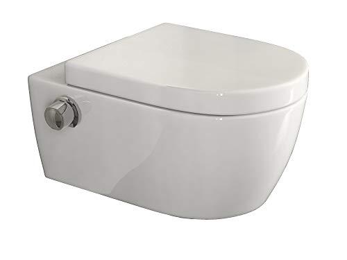 SSWW | Taharet WC | Inkl. Armatur und abnehmbarer Softclose Sitz | Dusch-WC | Hänge-WC | Toilette mit Bidet-Funktion | Hygienisch | Shattaf | Alpha...