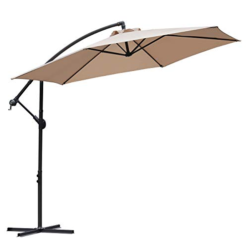 Sekey solskjerm 300 cm paraply Hage paraplyhåndtaket paraply beige / taupe med sveiv innretning solkrem UV50 +