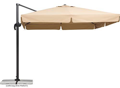 Schneider Parasol Rhodos, naturlig, 300x300 cm kvadrat, ramme aluminium / stål, polyester deksel, 23.3 kg