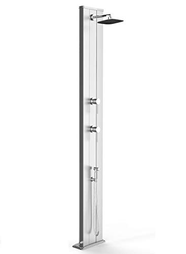 Arkema Solardusche Dada S aus eloxiertem Aluminium, für den Garten, mit Mischbatterie, warmes Kaltwasser und Handbrause mit 40 Litern Höhe 229 cm
