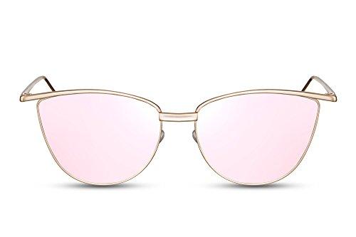 Cheapass solbriller Cat-Eye Rose Gold Mirrored Designer Glasses UV400 ...