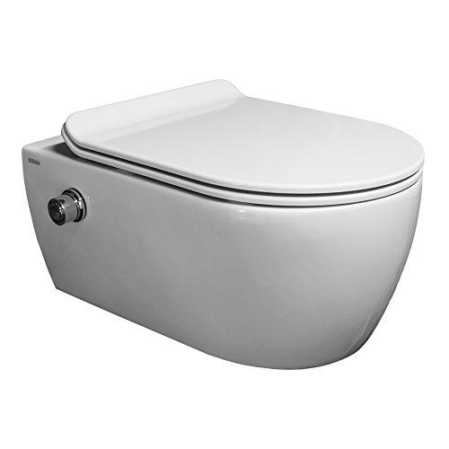 SSWW | Taharet WC | Spülrandlos | Inkl. Armatur und flachen abnehmbaren Softclose WC-Sitz | Dusch-WC | Hänge-WC | Toilette mit Bidet-Funktion |...