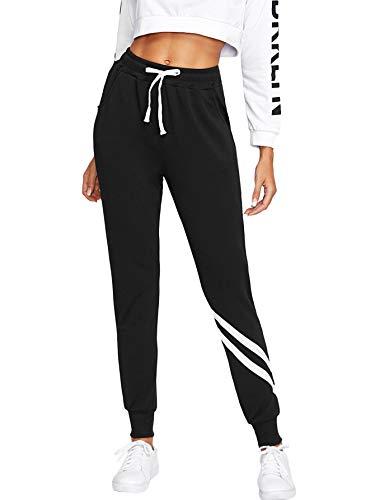 SOLY HUX dames joggingbroek streep joggingbroek elastische heupbroek Joggingbroek met zakken, trekkoord zwart S