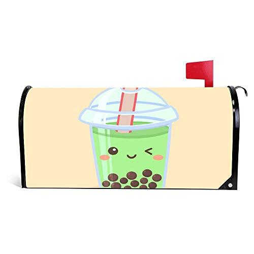 wendana Briefkasten, Motiv: Boba Bubble Green Tea Drink Glass Cartoon Briefkasten, magnetisch, Vinyl, 45,72 x 53,3 cm