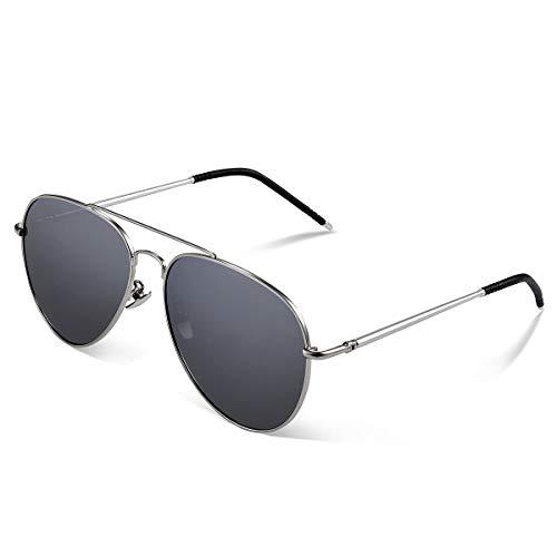 Yveser Polarisierte Sonnenbrille Pilotenbrille für Männer und Frauen Yv1816 (Schwarze Linse/Silber Rahmen)
