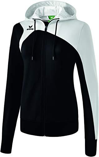 Erima Damen Club 1900 2.0 Trainingsjacke, mit Kapuze, schwarz/weiß, 38