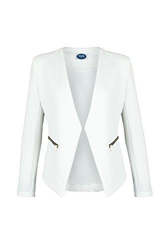 4tuality AO Blazer kragenlos mit Zipper weiß Gr. S