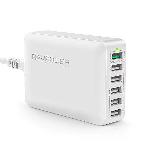 RAVPower Quick Charge 3.0 USB Ladegerät Schnellladegerät, 6-Port 60W USB...