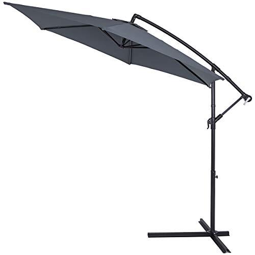 Deuba Alu Ampelschirm Ø 300cm antrasitt med veivmekanisme Aluminium vannavvisende deksel - parasoll paraply hage paraply markedet paraply