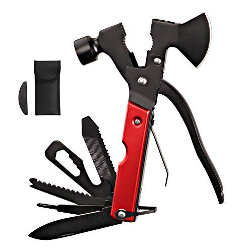 Survival Kit, Messer and Axt, Multifunktionswerkzeug 18-in-1 Multitoolaus Edelstahl Tragbar Hammer Jagdzubehör für Camping, Wandern, Notfall,...