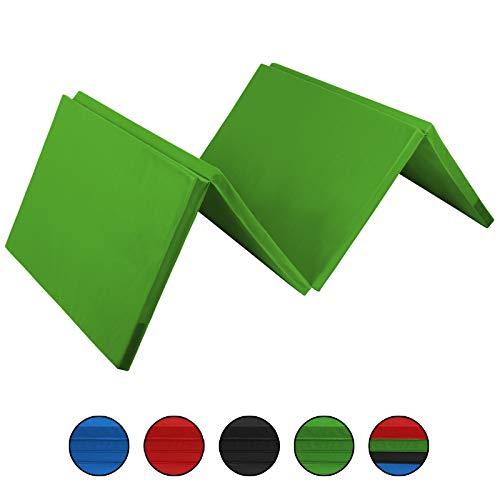 ALPIDEX Klappbare Gymnastikmatte Turnmatte für zuhause 300 x 120 x 5 cm für Kinder und Erwachsene - mit Klettecken, 3fach klappbar, Farbe:grün