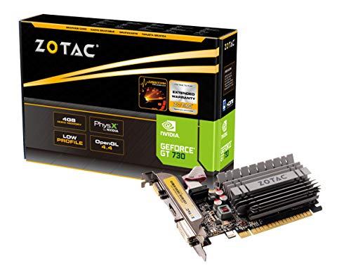 Zotac GeForce GT 730 Zone Grafikkarte (NVIDIA GT 730, 4GB DDR3, 64bit, Base-Takt 902 MHz, 1,6 GHz, DVI, HDMI, VGA, passiv gekühlt)