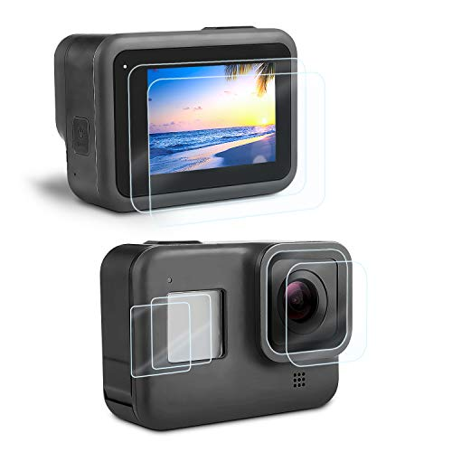 Displayschutz Schutzfolie für GoPro Hero 8 Black, iTrunk Ultra-frei Hartglas Displayschutz+Hartglas Objektivschutzfolie+HD Kleinem Display Schutz...