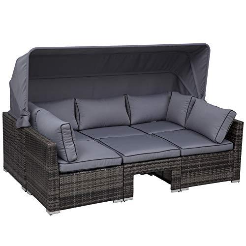 Outsunny Rattan Lounge Set, Sitzgruppe mit Sonnendach,...