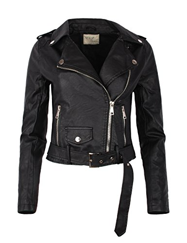 Fraternel Damen Jacke Bikerjacke Kunstlederjacke Fraternel