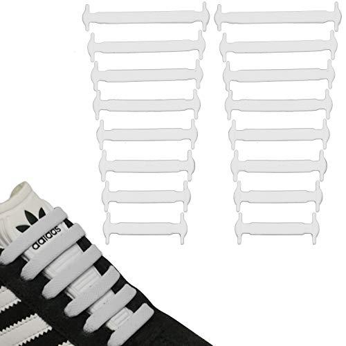 JANIRO Elastische Silikon Schnürsenkel flach   flexible schleifenlose Schuhbänder ohne Binden   Kinder & Erwachsene - Weiss