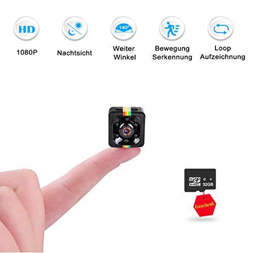 Mini Kamera mit 32GB Micro Karte, FLYLINKTECH 1080P Kleine Tragbare Mikro Überwachungskamera, Mini Cam mit Infrarot Nachtsicht und...