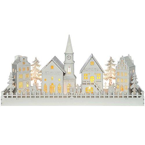 WeRChristmas Beleuchtete Weihnachtsdekoration mit Kirchenmotiv, aus Holz, mit...